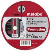 Rinkinys pjovimo diskų plienui Metabo 10 vnt 125x1,0x22 mm